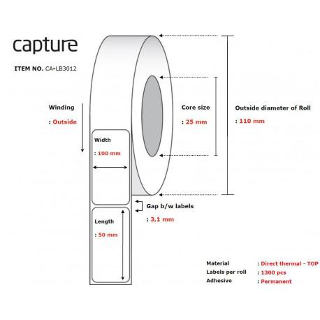 Capture Label 100x50, Core 25, (CA-LB3012)