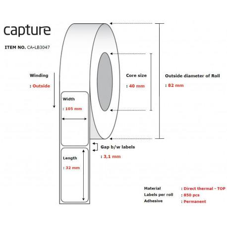 Capture Label 105x32, Core 40, (CA-LB3047)