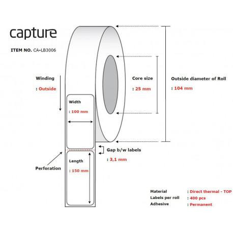 Capture Label 100x150, Core 25, (CA-LB3006)