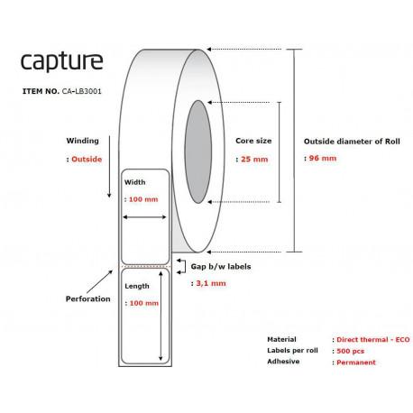 Capture Label 100x100, Core 25, (CA-LB3001)